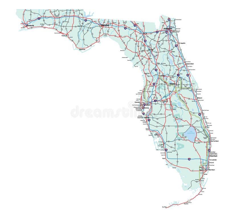 florida interstate översiktstillstånd vektor illustrationer