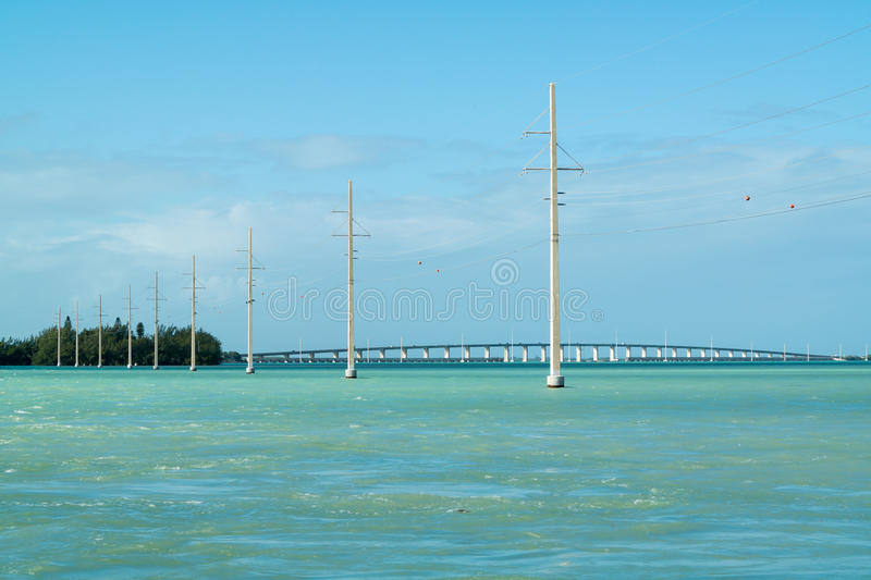 Florida Keys Channel 2 and 5 bridge, USA. Channel 2 with power lines, Craig Key and Overseas Highway US 1 bridge over Channel 5 to Key West, Florida Keys, USA stock photo