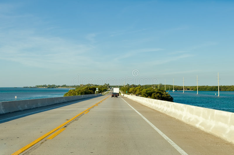 Florida Keys coastal highway. Scenic view of Florida Keys coastal highway receding into distance to Key West, Florida, U.S.A stock photos