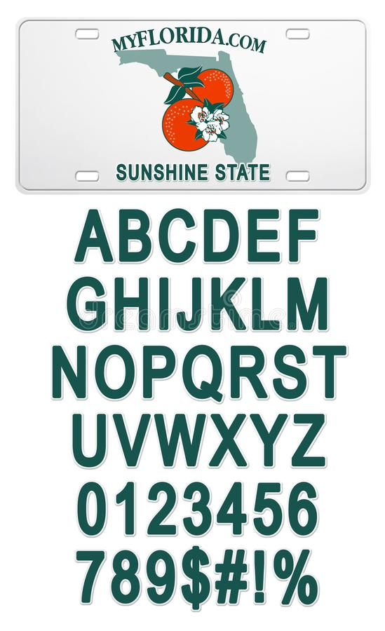 Florida License Plate with Text Customizable Lettering Blank. Blank Florida License Plate with Customized Text Lettering with State Outline and Oranges Logo Font vector illustration