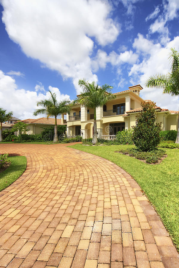 Florida luxury home in private community stock photo