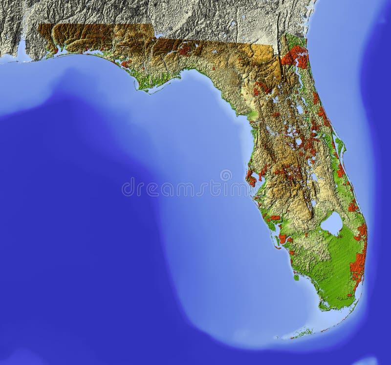 Florida, mapa de relevo protegido ilustração do vetor