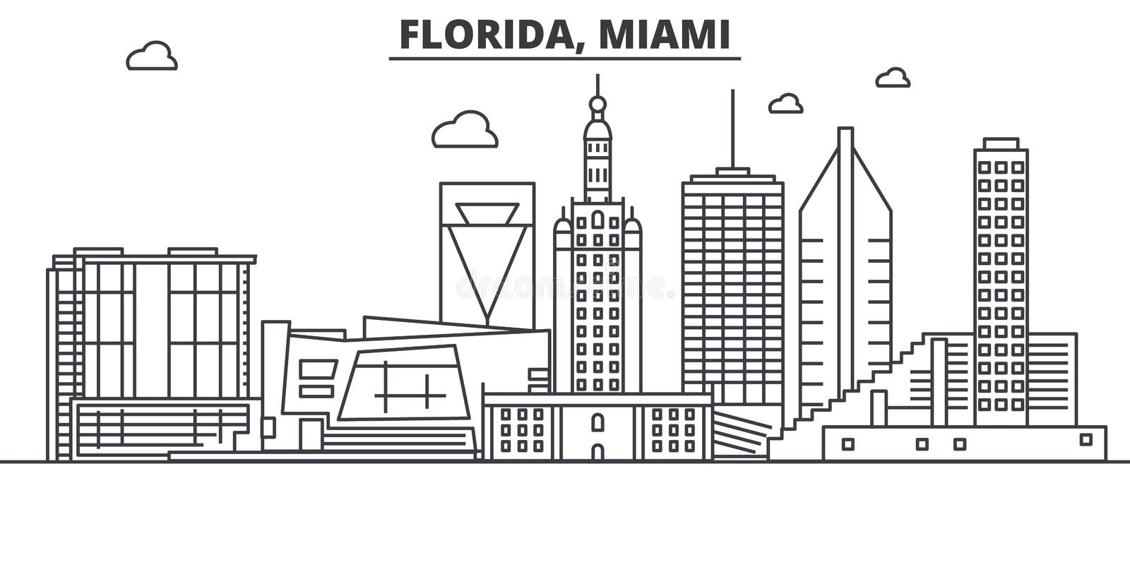 Florida Miami architecture line skyline illustration. Linear vector cityscape with famous landmarks, city sights, design vector illustration