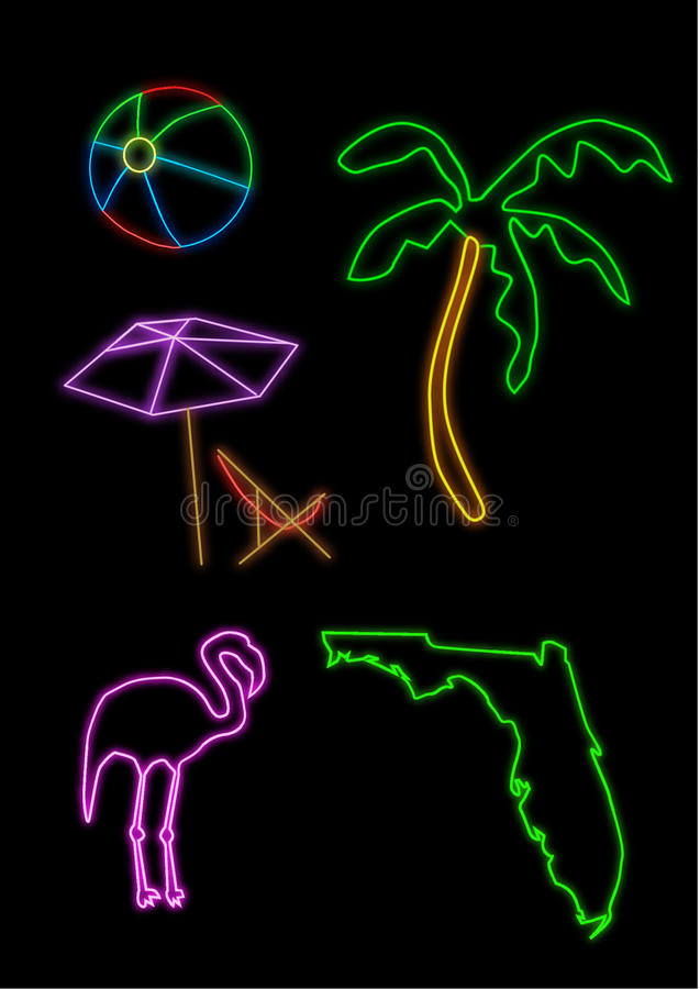 Florida Neon Shapes Royalty Free Stock Images