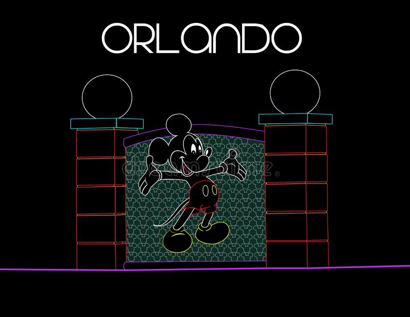 Florida, Orlando; 9 de agosto de 2018 Mickey Mouse no fundo colorido de néon Cartão de férias ilustração stock