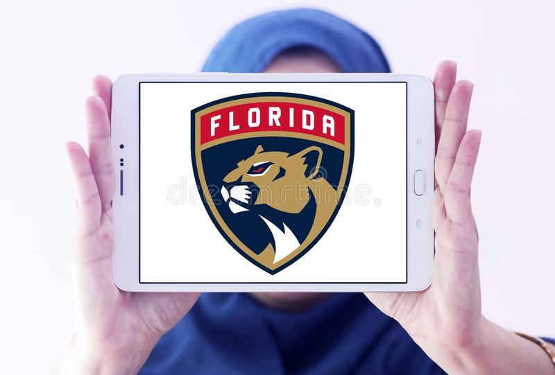Florida Panthers ice hockey team logo. Logo of Florida Panthers ice hockey team on samsung tablet holded by arab muslim woman. The Colorado Avalanche are a royalty free stock photos