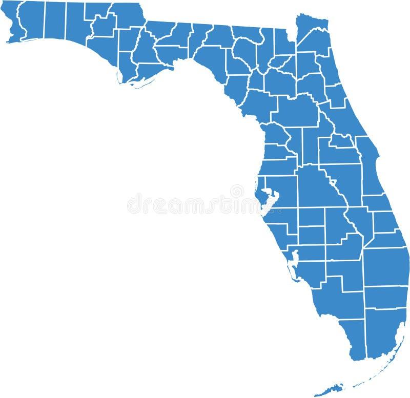 Florida por condados ilustração stock