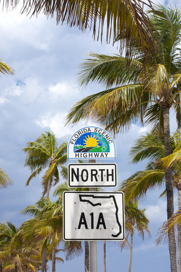 Florida's scenic highway sign stock photo