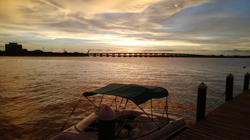 FLorida southwest sunset view Manatee River stock photography