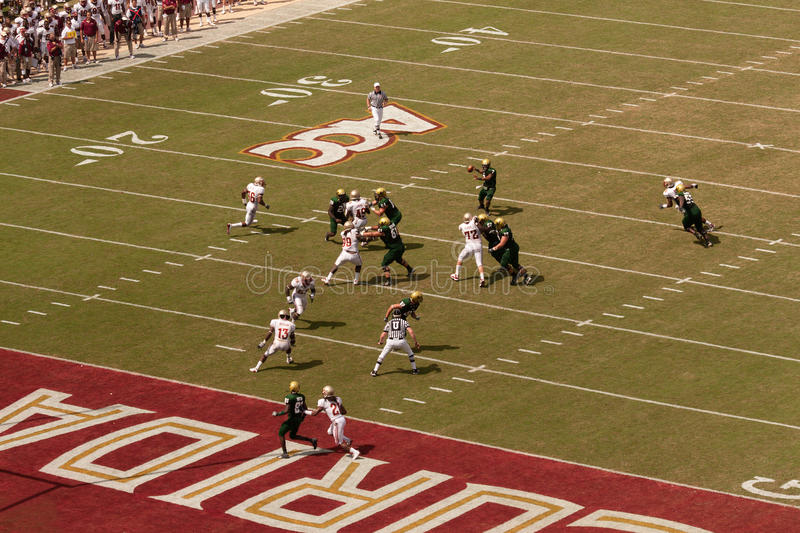 Florida State Football. TALLAHASSEE, FL - SEPTEMBER 26: USF Quarterback play during football game at Florida State in Doak Campbell Stadium on September 26, 2009 royalty free stock photos