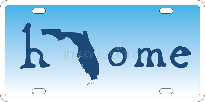 Florida state license plate vector. U.S. state patriotic license plate design in layered easy-editable EPS10 vector format royalty free illustration