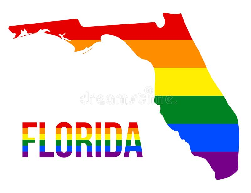 Florida State Map in LGBT Rainbow Flag Comprised Six Stripes With Florida LGBT Text. The Flag Comprised Six Stripes; Meaning to Each of The Colors: Life stock illustration
