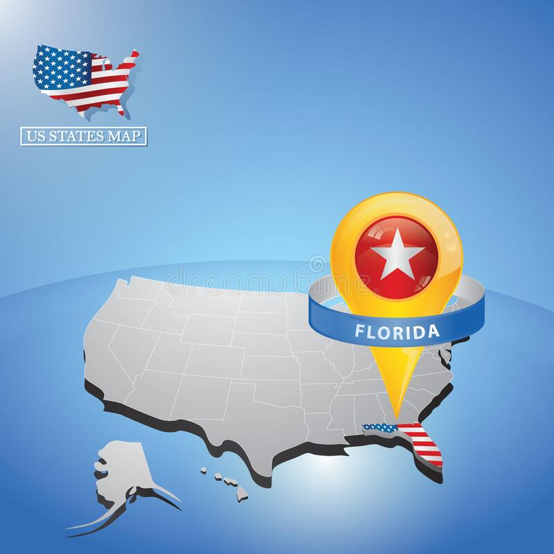 Florida state on map of usa. Vector illustration decorative background design royalty free illustration