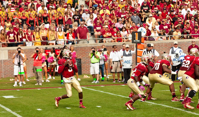 Florida State University Football. Tallahassee, FL - Oct. 27, 2012: College football game between Florida State University, with EJ Manuel as Quarterback, and royalty free stock image
