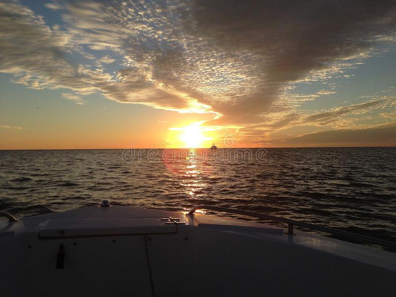 Florida Sunset from Boat Bow royalty free stock photos
