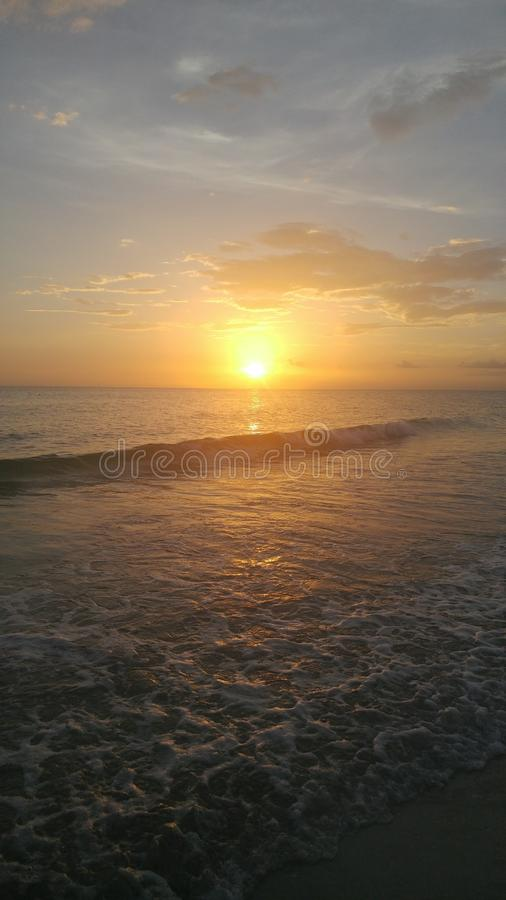 FLorida southwest sunset view, beaches. Florida sunsets colors, southwest gulf coast stock photo