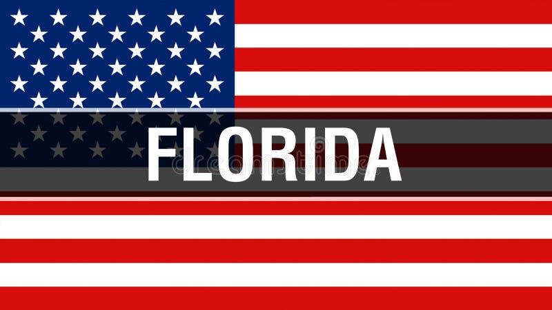 Florida tillstånd på en USA flaggabakgrund, tolkning 3D USA flagga som vinkar i vinden Stolt vinka för amerikanska flaggan royaltyfri illustrationer