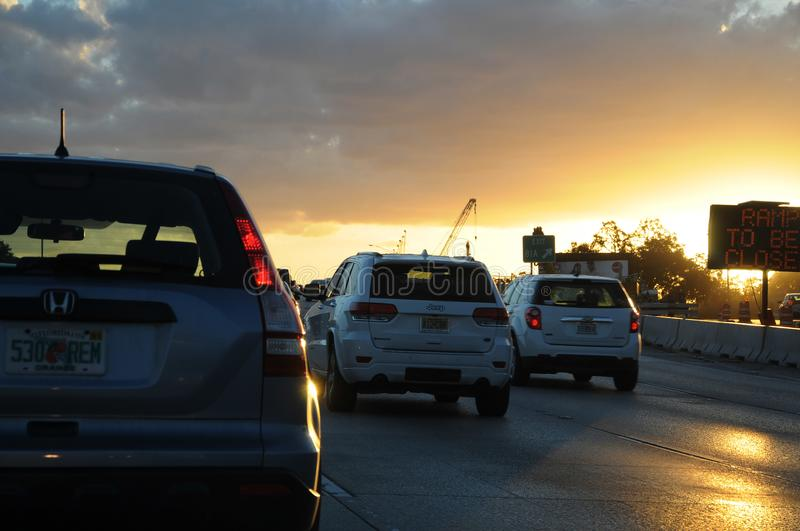 FLORIDA TRAFFIC DURING SUNSETS. CAPE CANAVERAL / FLORIDA / USA - 06 December 2017.-Florida jam traffic during sunsets . Photo.Francis Dean/Dean Pictures stock photo