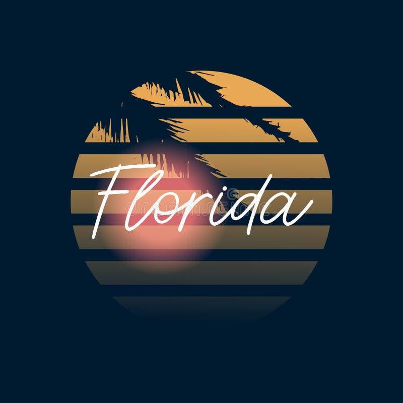 Florida tryck Typografidesign modell på skjortan Florida illustration retro stil - Mappen för vektorn royaltyfri illustrationer