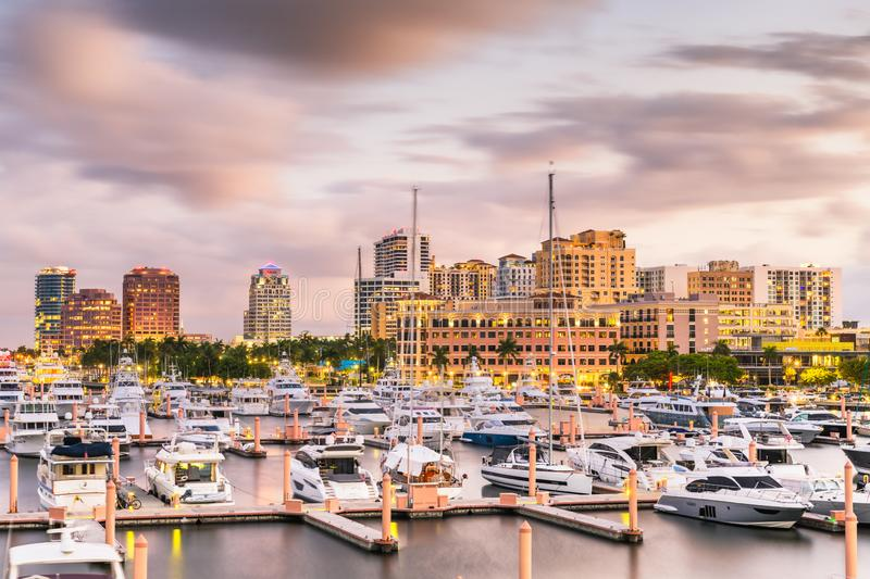 West Palm Beach, Florida, USA Skyline. West Palm Beach, Florida, USA downtown skyline at dusk stock photos