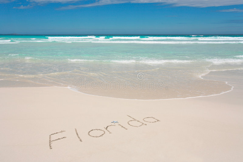 Download Florida written on beach stock image. Image of blue, sand - 7687227