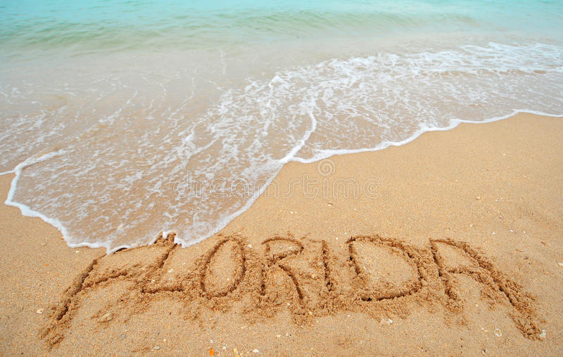 Florida written in sand royalty free stock photography