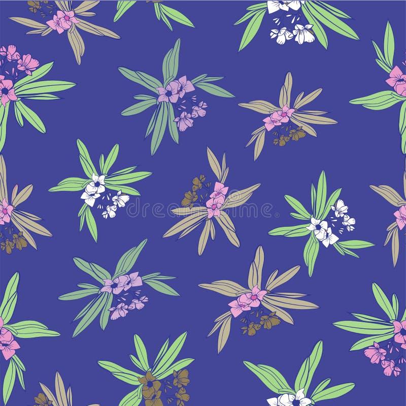 Floridian вектор предпосылки картины флористической печати тропический в голубом Mauve иллюстрация вектора