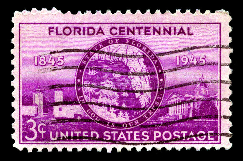 Florids Centennial Stamp. UNITED STATES OF AMERICA - CIRCA 1945: A used postage stamp from the United States of America, celebrating the Florida Centennial royalty free stock photo