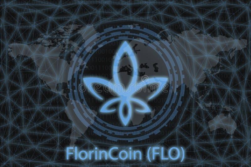 FlorinCoin FLO Utdrag kryptovaluta Med en mörk bakgrund och en världskarta Grafiskt koncept för din design royaltyfri illustrationer
