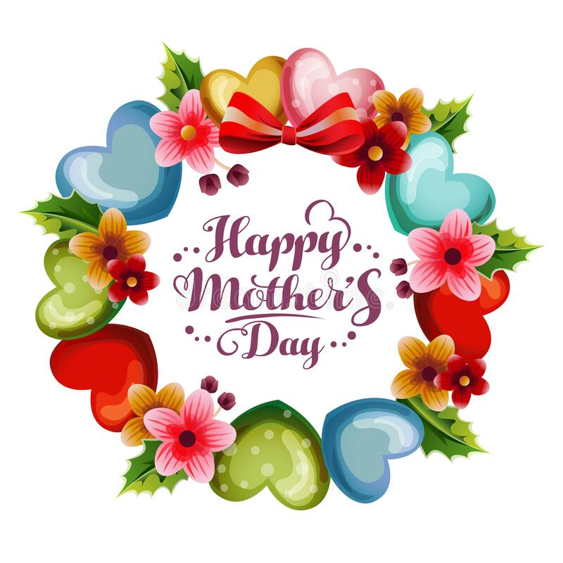 Florish and love shape wreath mothers day card. Happy mother`s day border with colorful flower decoration frame. Flower border frames, round bloom and stock illustration