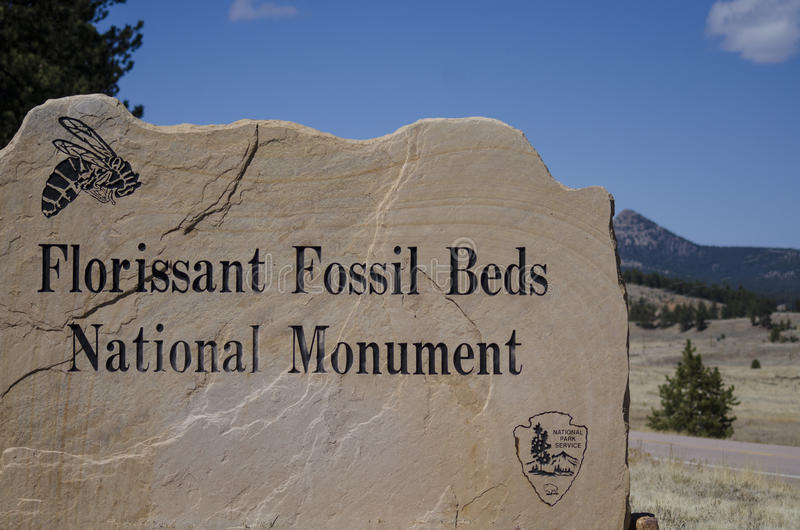 Florissant Fossil Beds National Park Monument Sign to entrance. The Florissant Fossil Beds National Monument is a national monument located in Teller County stock photo