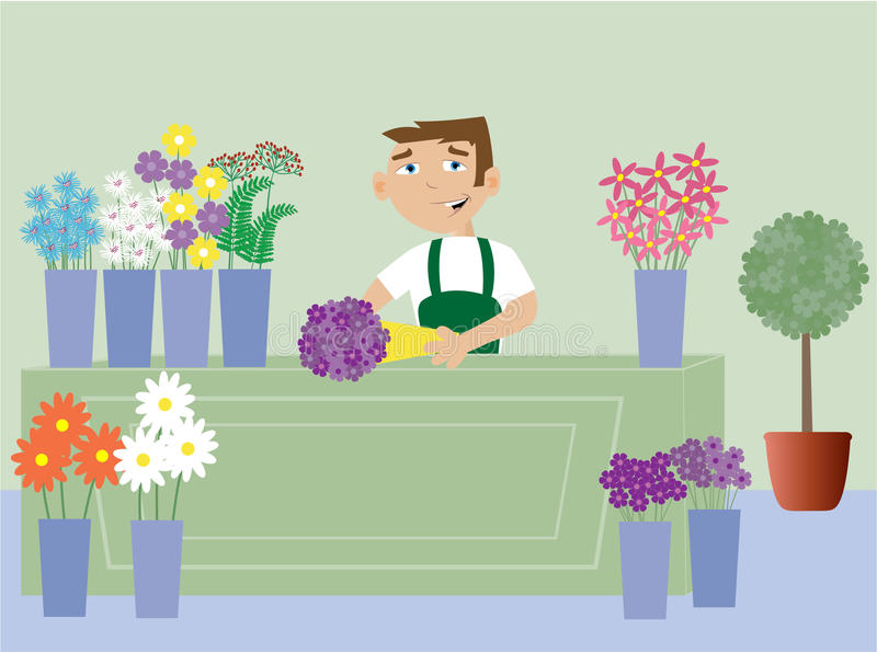 Florist. A florist working in his store royalty free illustration