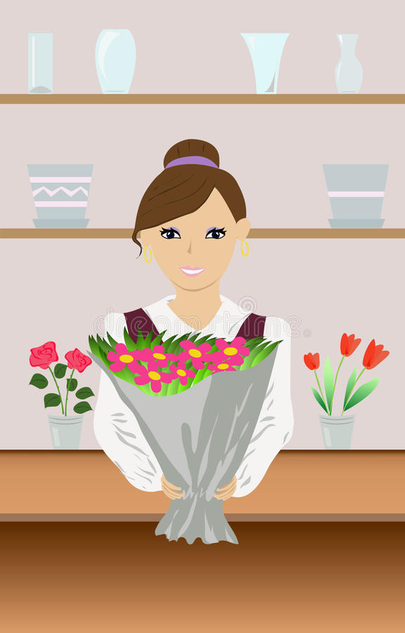 Download Florist stock vector. Image of clerk, gift, vase, proposal - 25198945