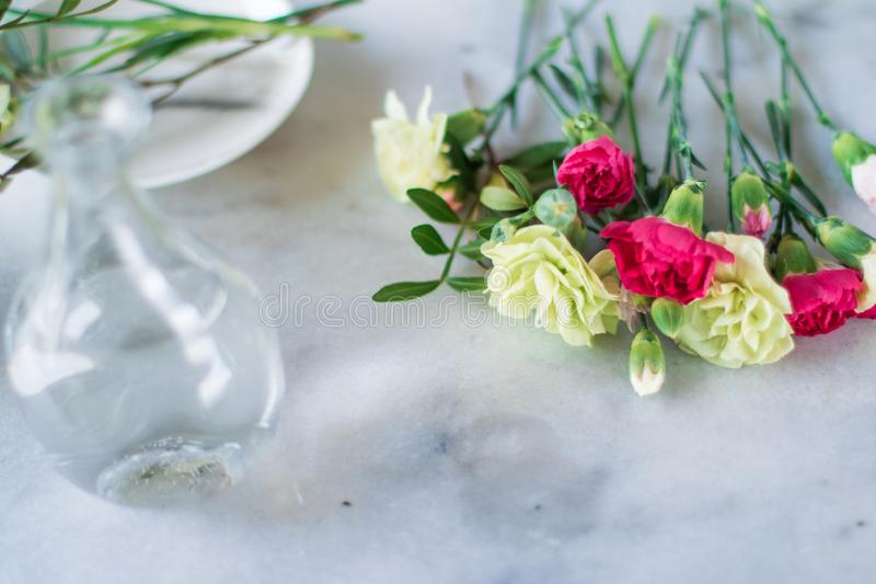 Florist bouquet design - wedding, holiday and floral garden styled concept. Elegant visuals stock images