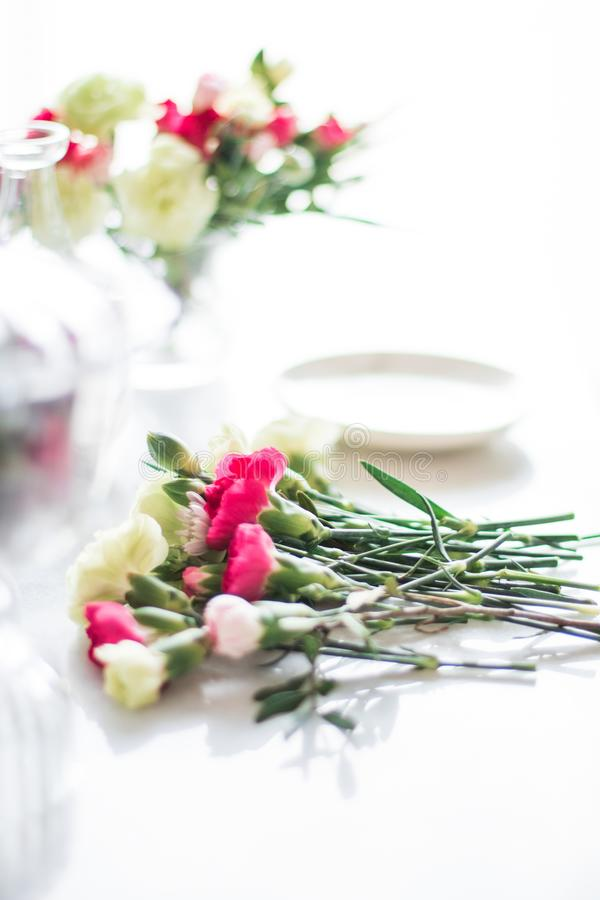 Florist bouquet design - wedding, holiday and floral garden styled concept. Elegant visuals stock image