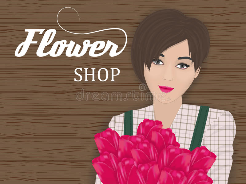 Florist with a bouquet. Of flowers in her hands royalty free illustration