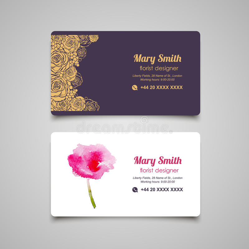 Florist business card vector design templates set stock vector download florist business card vector design templates set stock vector illustration of corporate background reheart Images