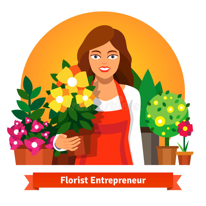 Florist business owner holding a pot of flowers. In her shop. Flat style vector illustration isolated on white background vector illustration