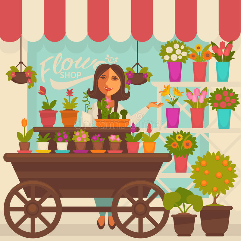 Florist Female Person near Showcase with Flowers. In pots on shelves and on wooden cart with wheels. Vector illustration of smiling woman that sells bouquet and vector illustration