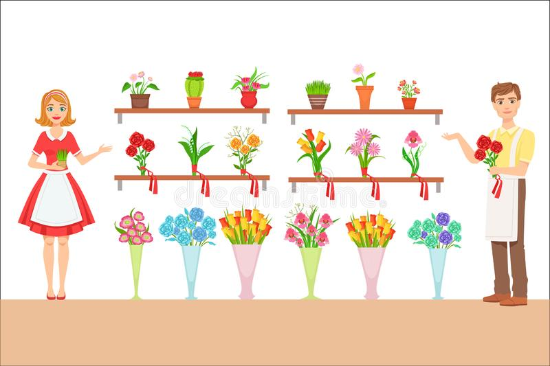 Florist In The Flower Shop Demonstrating The Assortment vector illustration