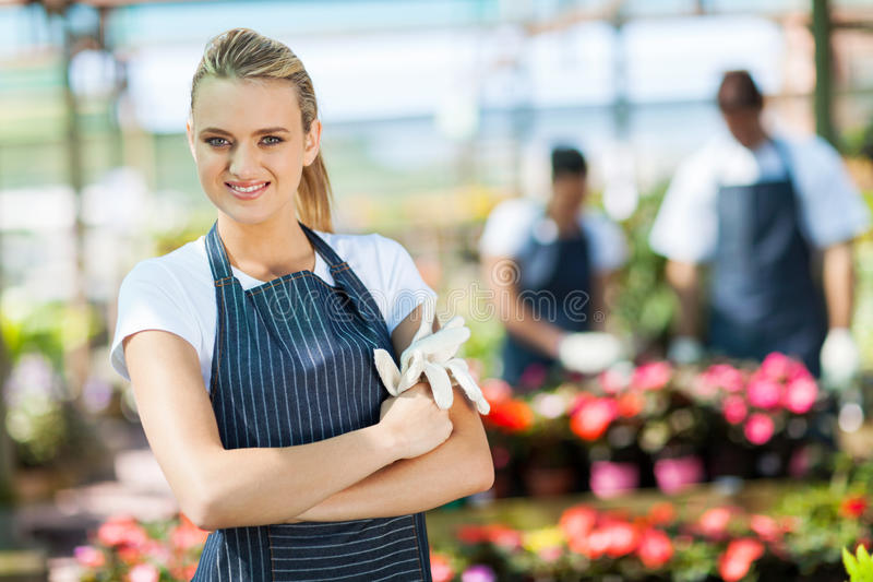 Florist In Greenhouse Stock Photography