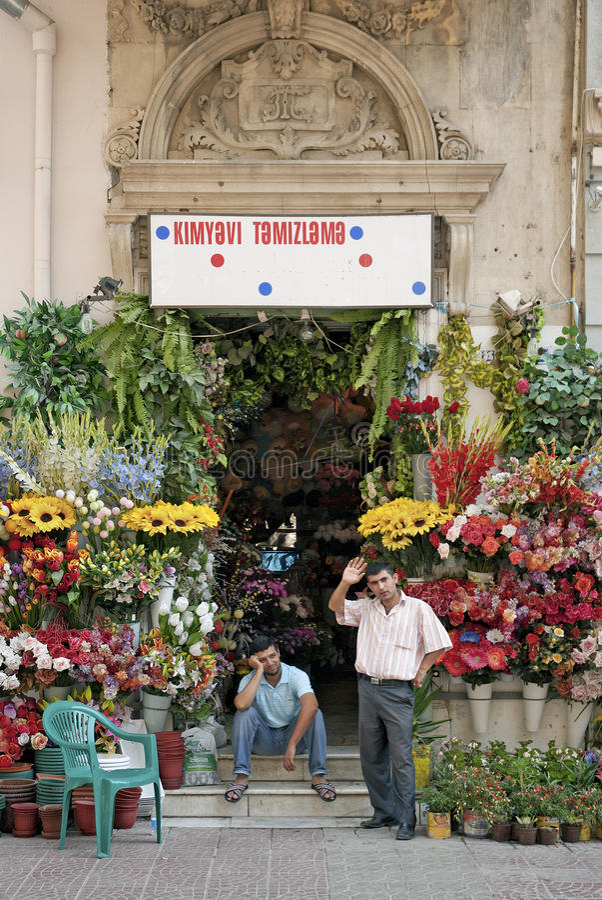 Florist and men in central baku azerbaijan