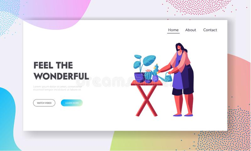 Florist Profession, Job, Flower Shop. Girl Caring of Plants in Pots, Making Design Compositions for Customers Visiting Store. Website Landing Page, Web Page vector illustration