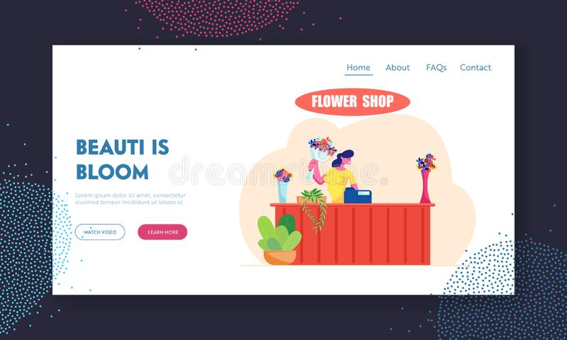 Florist Profession, Job Website Landing Page, Saleswoman Holding Bouquet at Counter Desk with Cashbox in Flower Shop. Floristic Store Blossom Present Web Page stock illustration