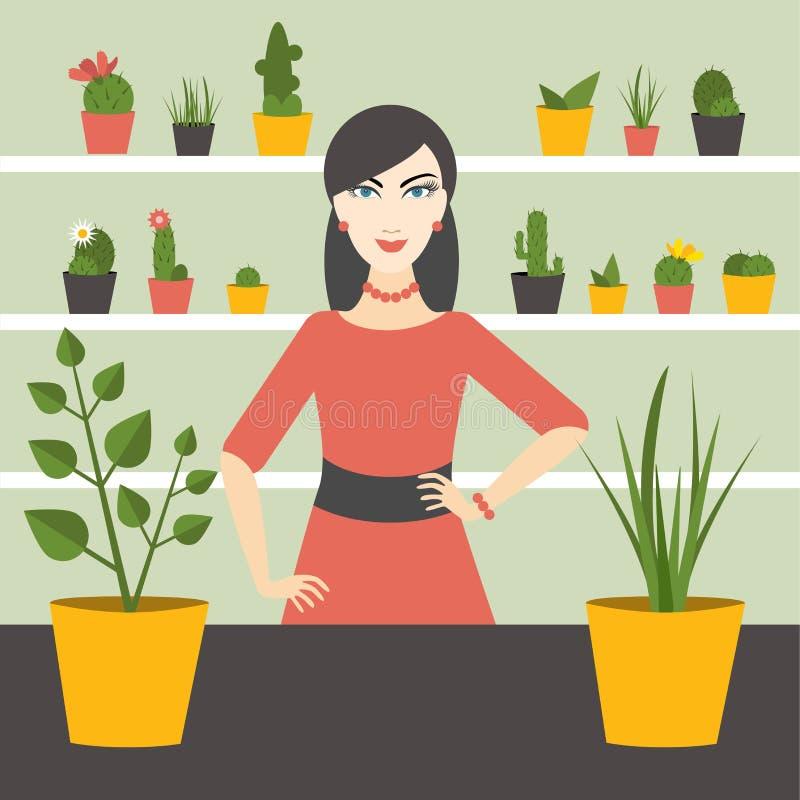Florist sales woman in flower store. Flat design royalty free illustration