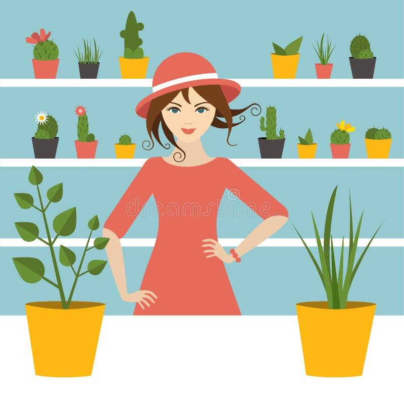 Florist sales woman in flower store. Flat design stock illustration