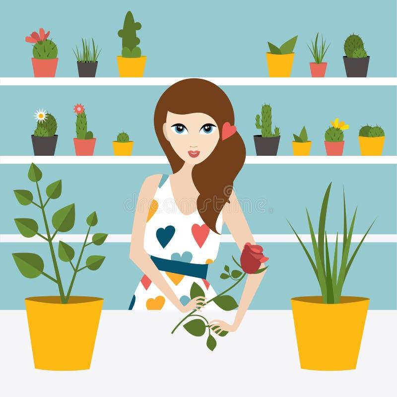 Florist sales woman in flower store. Flat design vector illustration