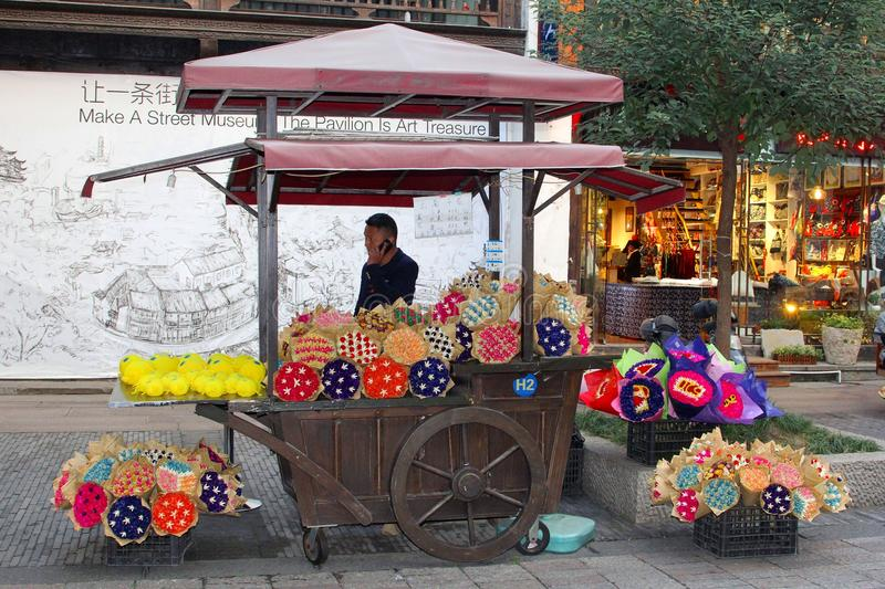 Florist sells colorful dried flowers, Hangzhou, China stock images