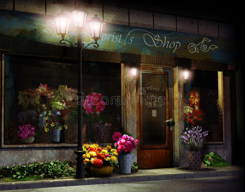 Florist shop at night. Facade of an ancient florist shop, at night, enlightened by lampposts stock illustration