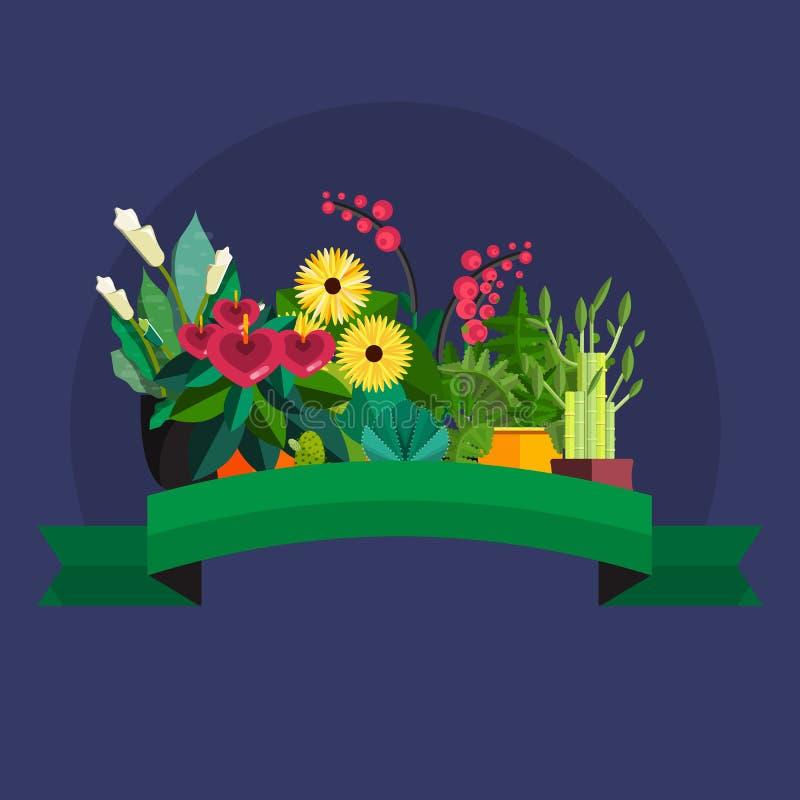 Florist shop.Plants composition.Flower store flat design. Plants in floristic shop.Sale in flower shop.Shopping plant store.Big flower sale.Plants composition stock illustration